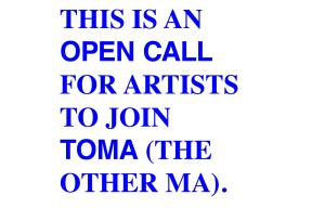 TOMA open call for artist-run contemporary education programme 2019/20