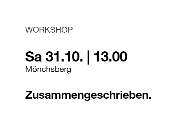 Workshop Zusammengeschrieben